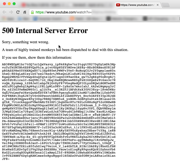 YouTube 500 - Internal Server Error